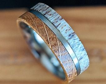 Gunmetal Whiskey Barrel Ring Mens Wedding Band Deer Antler Ring, Wood Wedding Band Mens Ring Wood & Antler Ring, Titanium Ring Wooden Ring
