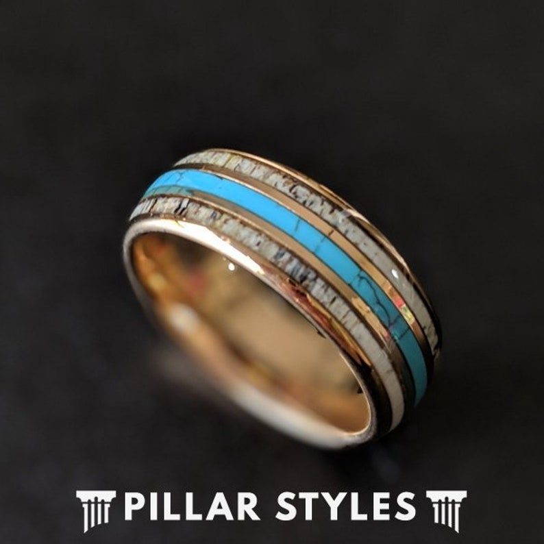 b5241733ed709 14K Rose Gold Ring Mens Wedding Band with Turquoise & Antler Inlay -  Tungsten Wedding Band Mens Ring Deer Antler Ring Mens Turquoise Ring