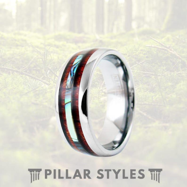 d2ecaac776 Exotic Koa Wood Ring with Abalone Shell Inlay 6mm/8mm   Etsy