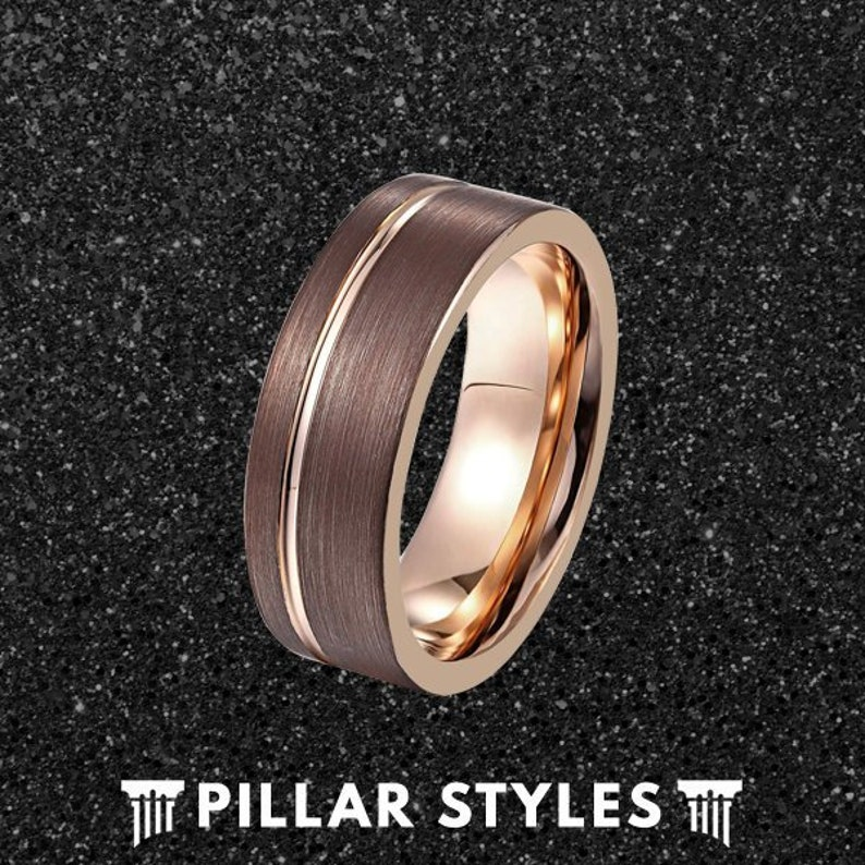 Brown Ring Mens Wedding Band Unique Wedding Bands Women Gold Ring Cappuccino Tungsten Wedding Band Mens Ring Rose Gold Tungsten Ring