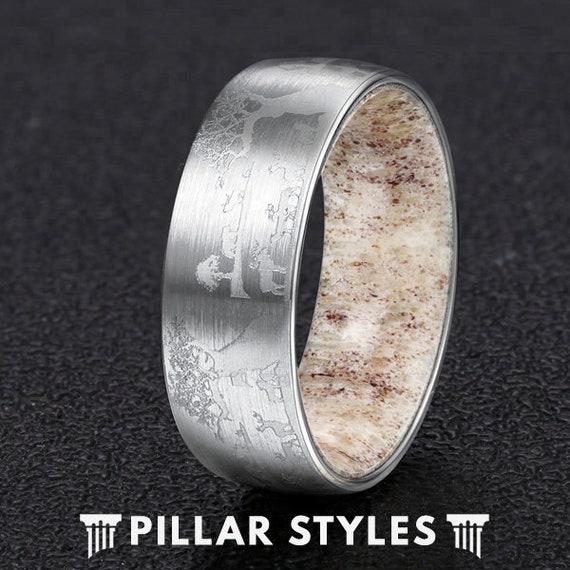 Mens Wedding Band Deer Antler Ring 8mm Etched Silver Etsy