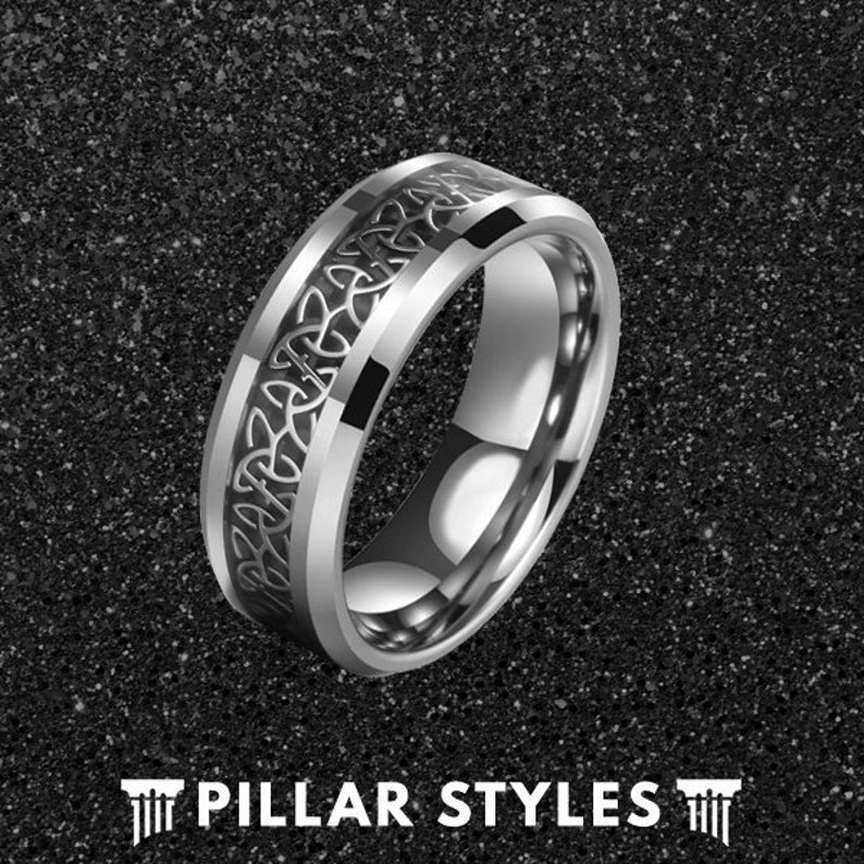 Mens Wedding Band Celtic Knot Ring Celtic Wedding Rings Unique Wedding Ring Viking Ring Tungsten Wedding Band Mens Ring Triquetra Ring