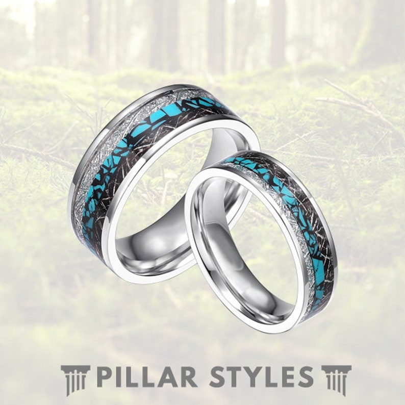d7f04ccbf7 Titanium Meteorite Ring Turquoise Inlay 6/8mm Mens Wedding | Etsy