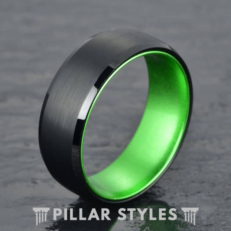 8013806dfd9a9 Tungsten Wedding Band Men - Thin Green Line Ring Mens Wedding Band - Green  Tungsten Ring - Unique Wedding Ring - Mens Ring - Military Ring