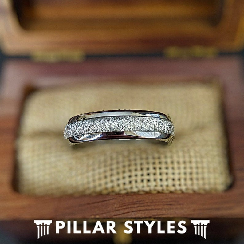 c52ec6c0ec96c 6mm/8mm Meteorite Ring Mens Wedding Band Couples Ring Set | Etsy