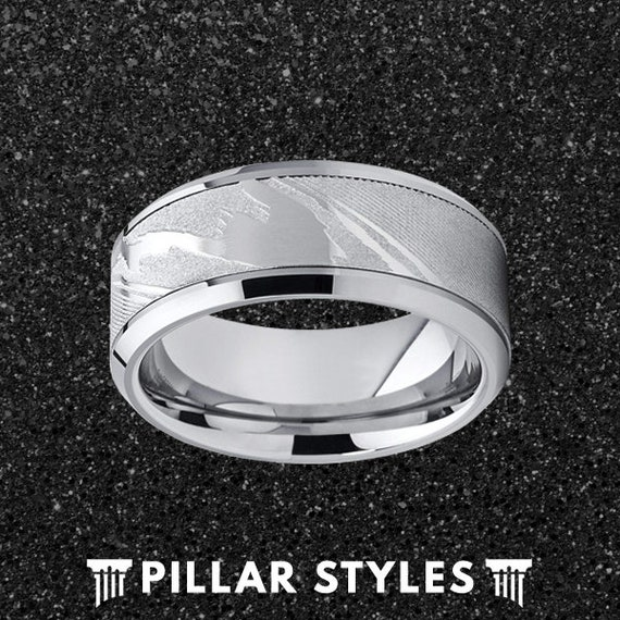 Atomic Jewelry Stunning Abalone Inlay Tungsten Carbide Band Size 6-15