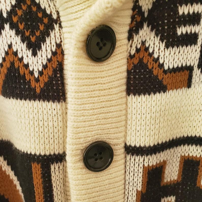 vintage Shawl Cardigan Sweater Aztec Native American Ethnic Knit sz Small S