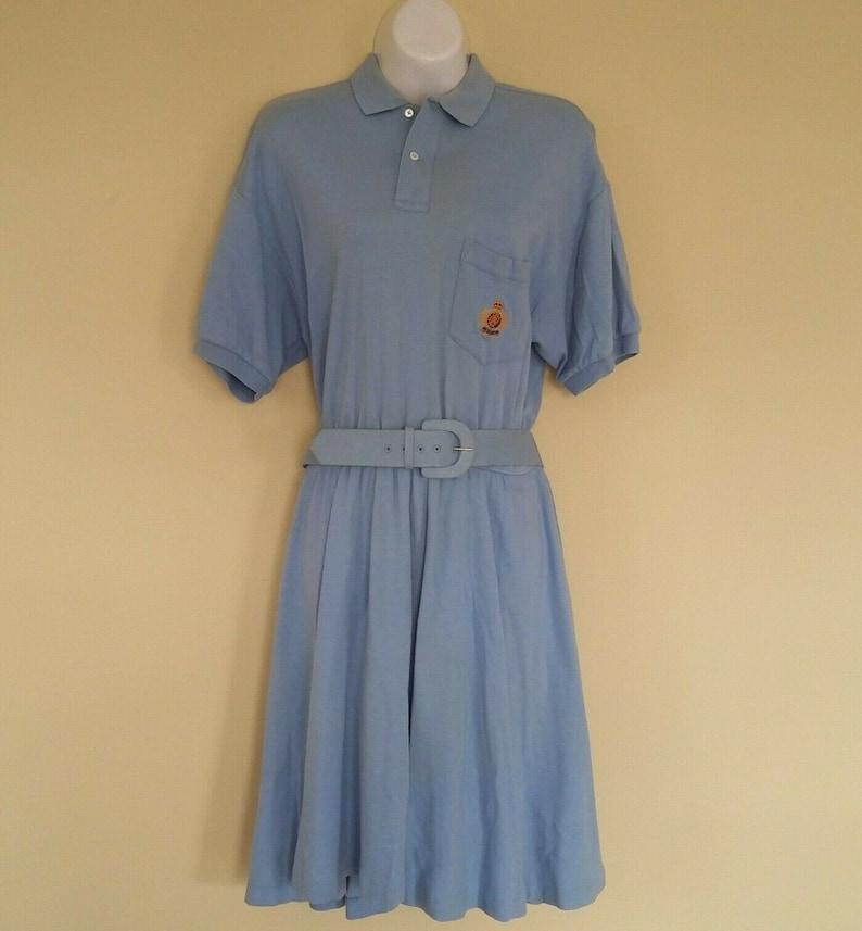 Dress M Preppy Polo Baby 80s Vintage Blue Crest Sport Sz Lauren Ralph NwO8n0mv