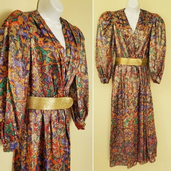 vintage Diane Dickinson Metallic Gold Dress 70s 80