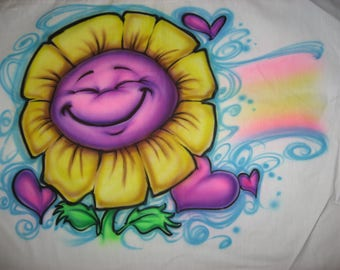 Custom Airbrushed Cute Flower with Hearts Pillowcase