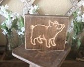 Wood Engraved Pig Sign...