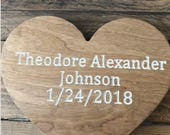 Baby Announcement Wood En...