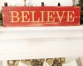 Wood Engraved Believe Chr...