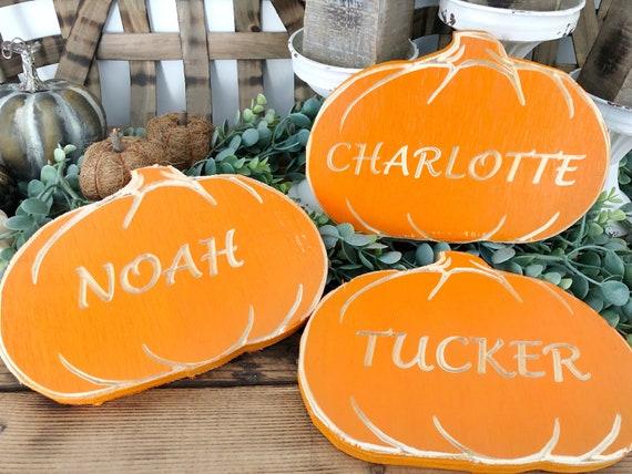 Custom Wood Engraved Fall Pumpkins