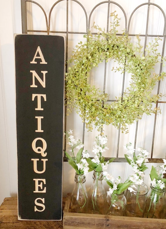 Antiques Wood Engraved Sign