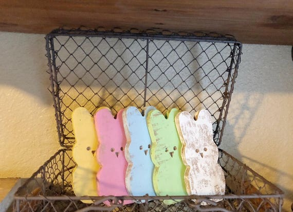 3 Hand Made Chippy Wooden Easter Peeps