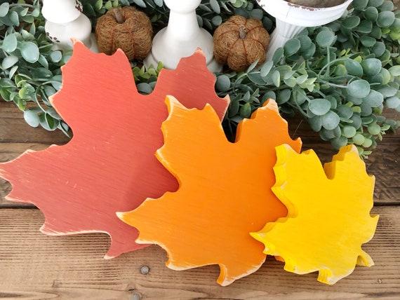 Set of 3 Wood Fall Maple Leaves