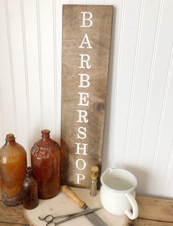 Barber Shop Wood Engraved Sign