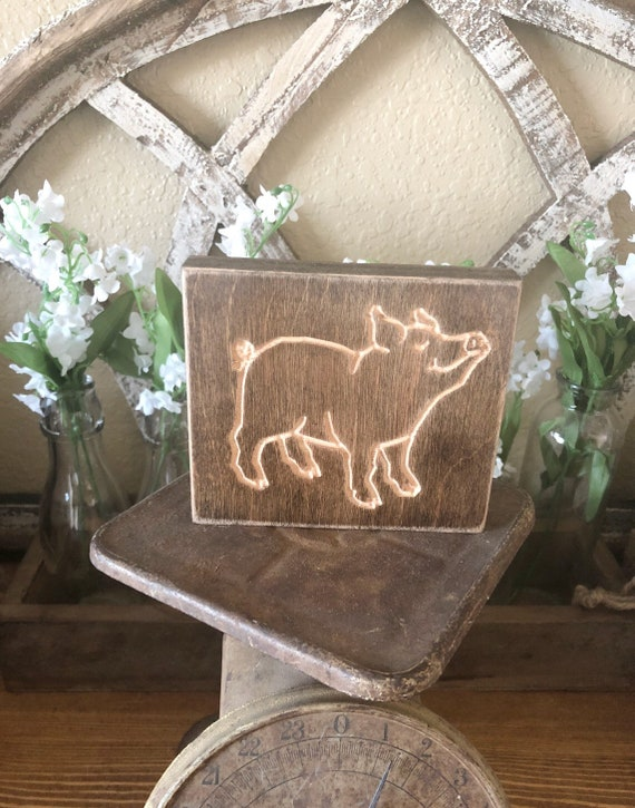 Wood Engraved Pig Sign