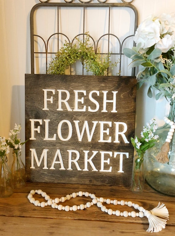 Fresh Flower Market Wood Engraved Sign