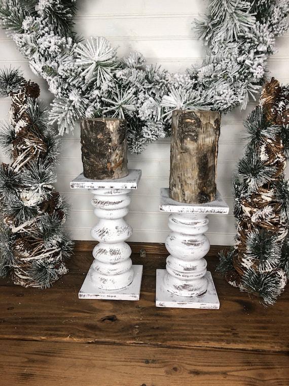 Wood Pedestal Candlestick