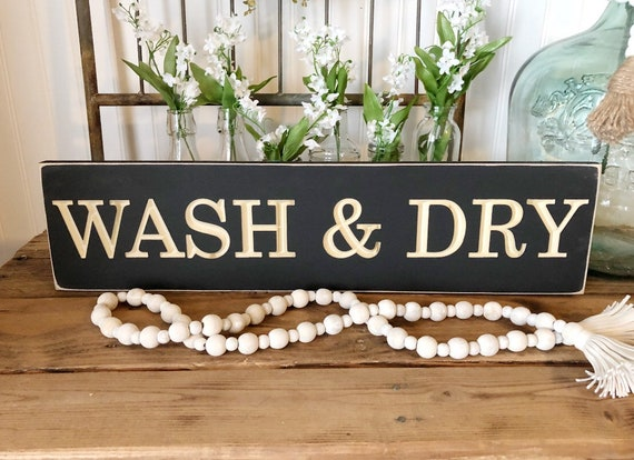 Wash ans Dry Wood Engraved Sign