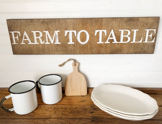 Farm To Table Wood Engraved Sign
