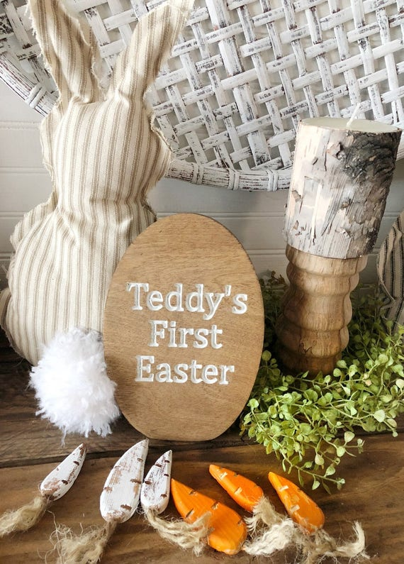 Baby First Easter Engraved Wood Easter Eggs