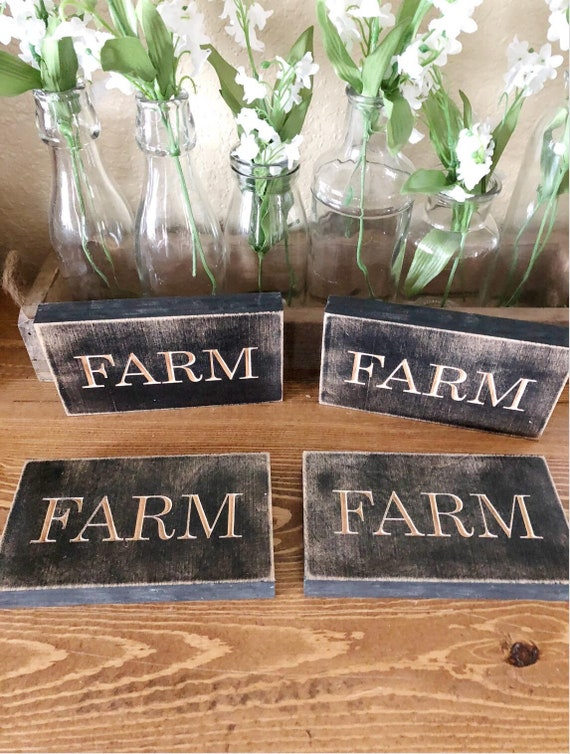 Farm, Yum, Gather, Wood Engraved Sign