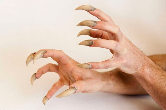 Brown Werewolf Claw Fingers Tips 10 Fingers