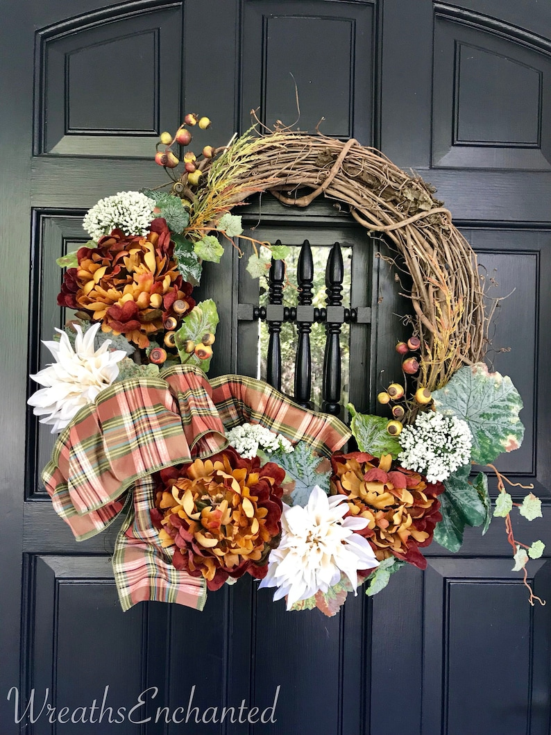 Fall Wreath Rustic Wreath Neutral And Rust Wreath Front Door Etsy