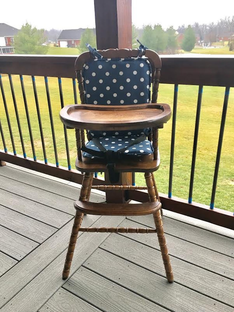 High Chair Cushion Wooden High Chair Padhighchair Cover Highchair Cushion Highchair Pad Vintage Navy Polka Dot