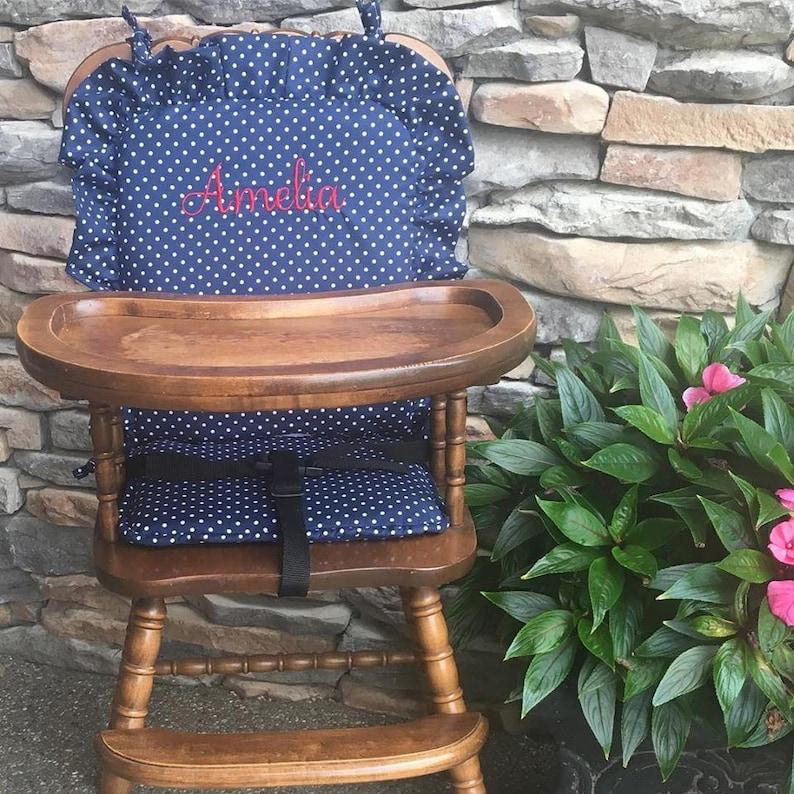 High Chair Cover High Chair Pad High Chair Cushion Highchair Cover Navy Small Dot Wooden High Chair Pad Highchair Cushion