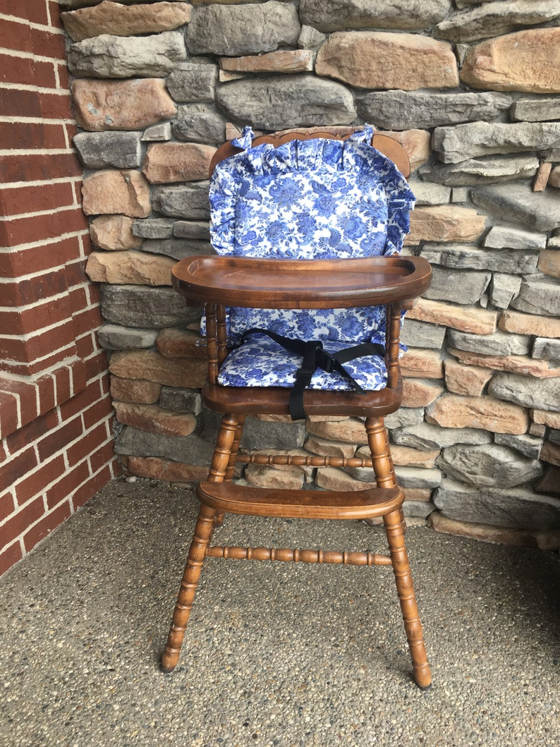 High Chair Cushion Wooden High Chair Padhighchair Cover Highchair Cushion Highchair Pad Vintage Blue Floral And Paisley Ruffle