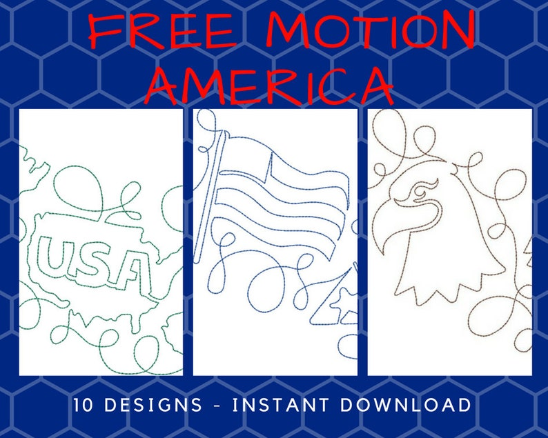 10 Free Motion Continuous Line America Machine Embroidery Etsy
