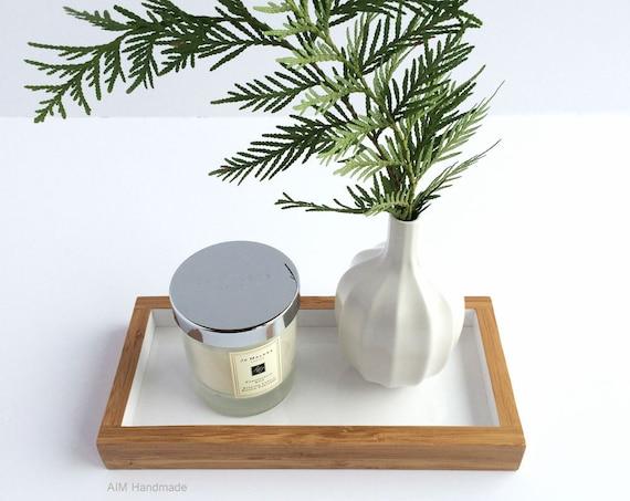 Bamboo and Gloss White Tray, Handmade in BC, Canada.