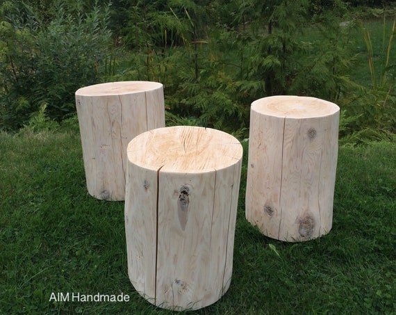 AIM Reclaimed stump end tables, log side table, rustic log furniture, grown in BC, Canada.