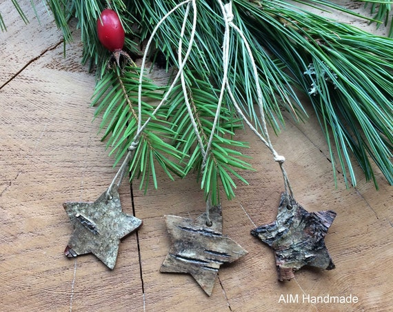 Set of three birch bark star festive ornaments, hand cut and strung on hemp cord, Modern Rustic decor handmade in BC, Canada