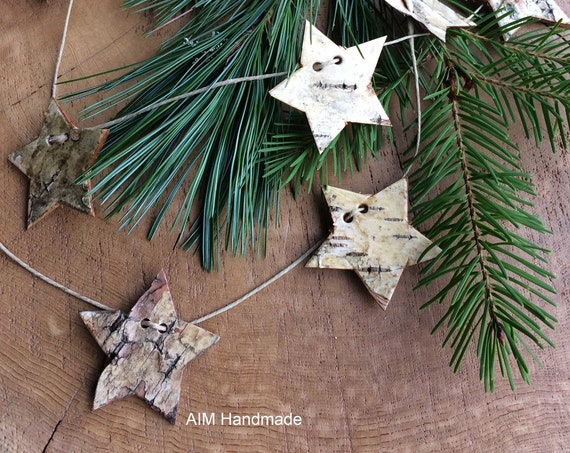 Birch bark star garland, hand cut and strung on hemp cord, Modern Rustic decor handmade in BC, Canada