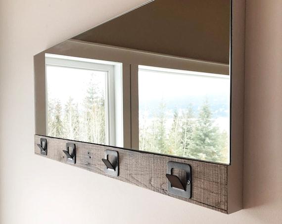 Rustic Hook Mirror, Barn Wood Entrance way Mirror, Bathroom Mirror, Bedroom Mirror, Handcrafted in BC, Canada