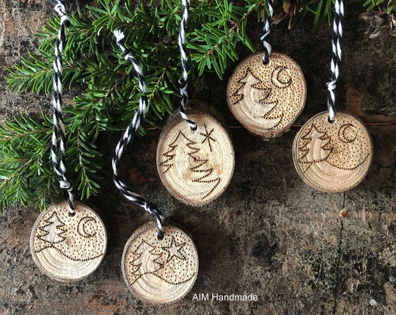 Set of 5 natural wood disc ornaments, Wood burned nature imagery, Custom reversible design, Tree slice ornaments, Handmade decor by AIM