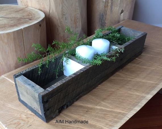 Barn wood box, Modern rustic display tray, Cabin style decor, Table centrepiece, Hostess gift idea, handmade in BC, Canada