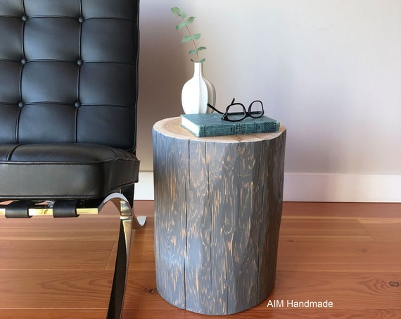 Natural top cedar stumps, reclaimed log end tables, salvaged log stools, solid wood tables, rustic modern decor, handmade in BC, Canada