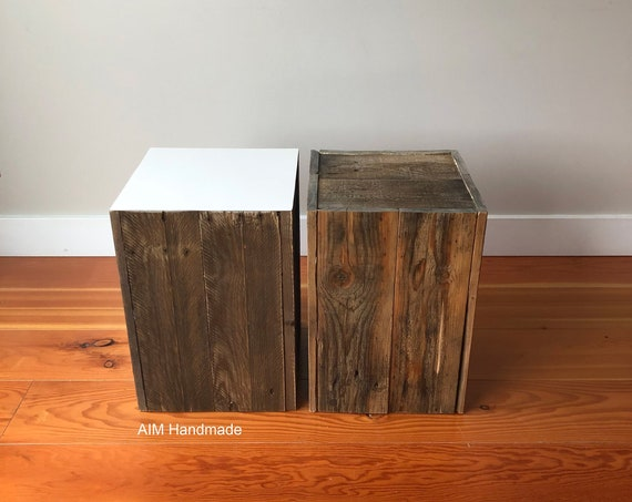 Modern rustic stool / end table, salvaged barn wood, rustic side table, reclaimed coffee table, Canadian made home decor by AIM Handmade.