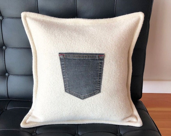 """Reclaimed wool cushion with denim pocket, 18"""" square pillow cover, up-cycled wool and denim, handmade in BC, Canada"""