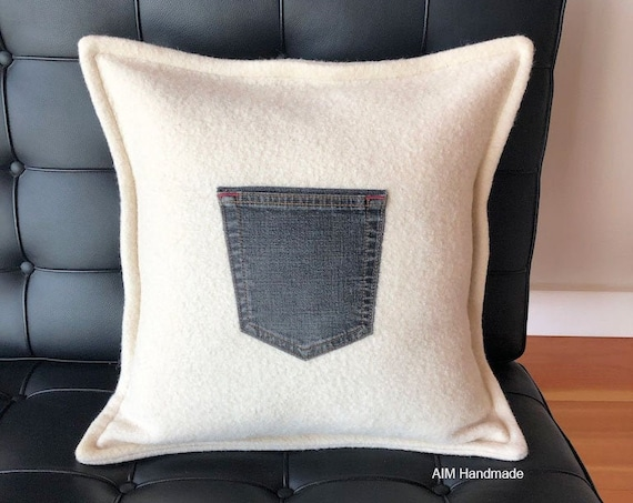 "Reclaimed Wool Cushion with Denim Pocket, 18"" Square Pillow Cover, Up-cycled Wool and Denim, Handmade in BC, Canada by AIM Handmade"