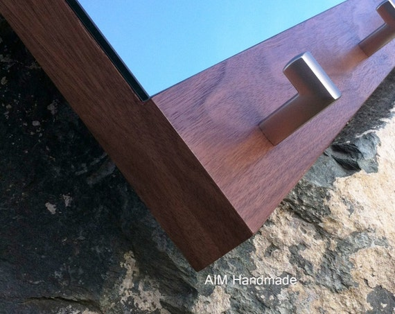 Walnut Hallway Coat Rack Mirror, Handmade in BC, Canada.