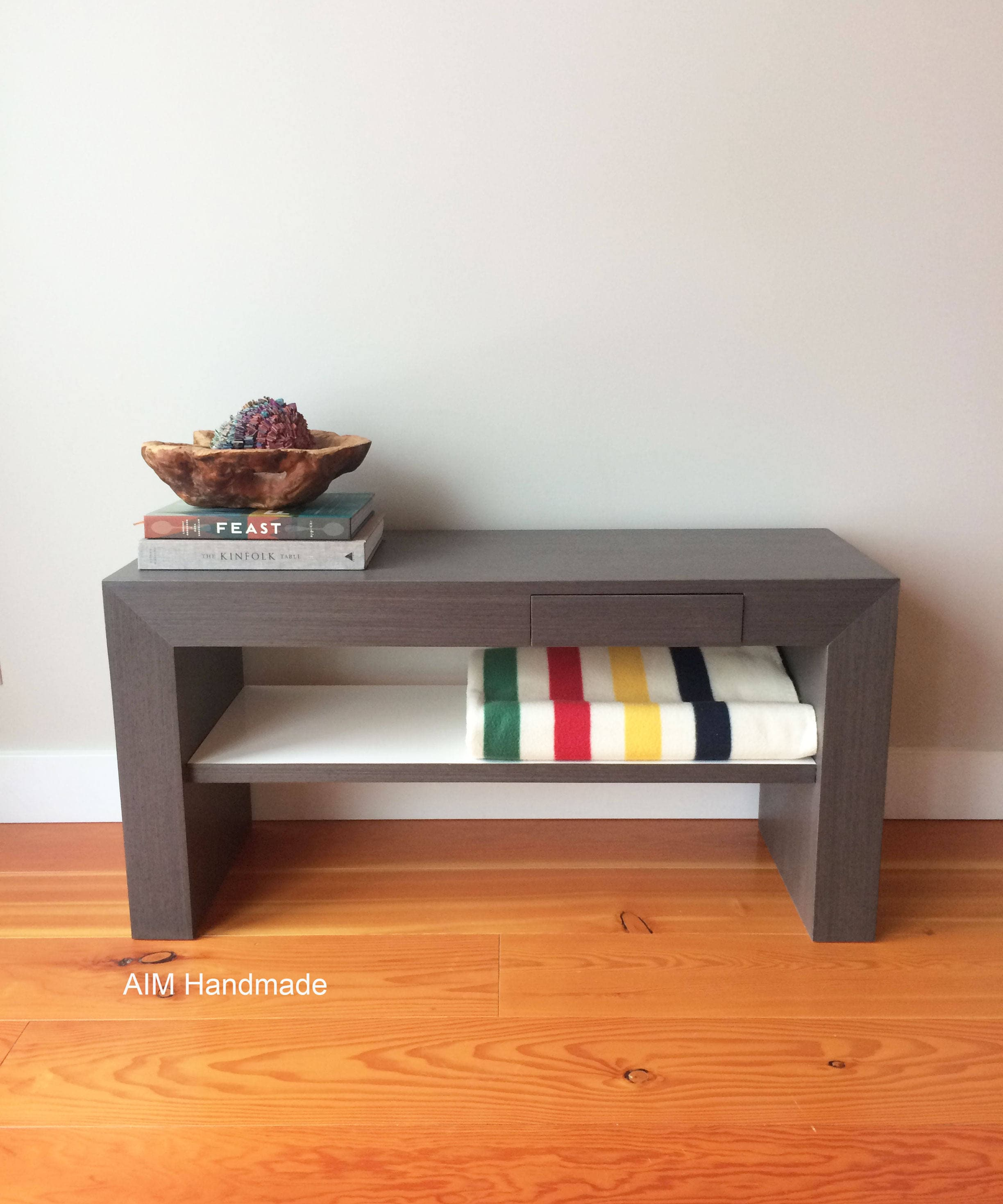 Abbey Coffee Table High Gloss White With 2 Pull Out Drawers: Bench Seating With Drawer And Inset Shelf In Grey Obechie