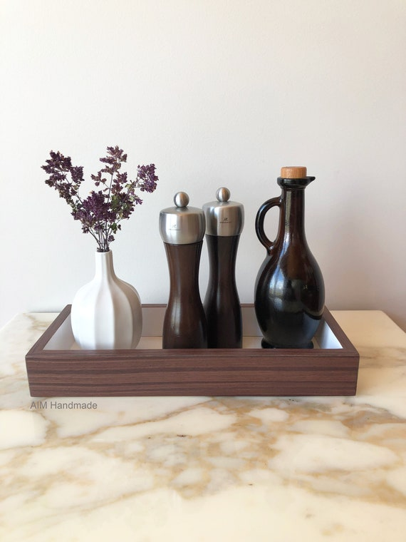 Kitchen Tray, Bathroom Tray, Set of 2 Purple Rosewood + Gloss White Trays, Modern Desk, Wood Valet Tray, Nightstand Tray, Handmade in Canada