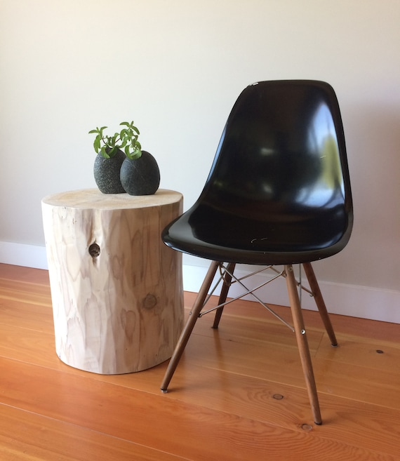 Reclaimed stump tables, log stools in whitewashed, natural or flat black finish, log side table, rustic log furniture, Grown in BC, Canada.